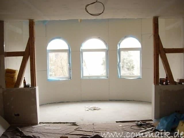 bau des wohnzimmer im obergeschoss 68 - Gipskarton im Wohnzimmer oder wie man einen Rundbogen verplankt