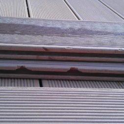 beschaedigte wpc diele2 - Aufbringen der WPC Terrassendielen