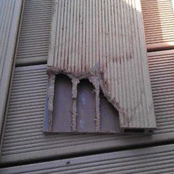 beschaedigte wpc diele3 - Aufbringen der WPC Terrassendielen