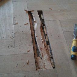 echtholzparkett reparieren wohnung27 - Eichen Echtholz Parkett aufbereiten und kaputte Stäbe auswechseln