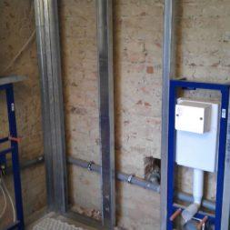 buero im keller bauen20 - Trockenbau und Sanitärinstallation im Keller - Die Kundentoilette entsteht