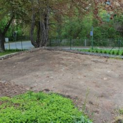 terrasse mit ruettelplatte begradigen3 - Der Bau unserer Gabionen Terrasse zum Abfang des Hangs