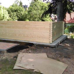bau eines blockbohlenhaus im garten 47 - Der Bau einer Blockbolengarage im Garten