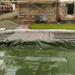 einbau der bpc wpc dielen poolterrasse 10 - Projekt Poolterrasse –  Bau der Unterkonstruktion und Verlegen der BPC Dielen