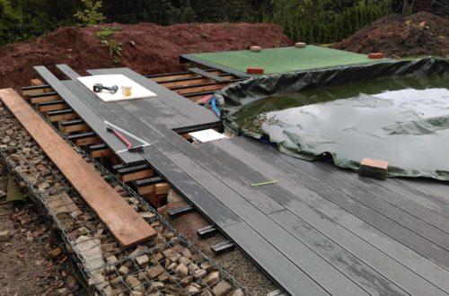 einbau der bpc wpc dielen poolterrasse 21 - Projekt Poolterrasse – Bau der Unterkonstruktion und Verlegen der BPC Dielen