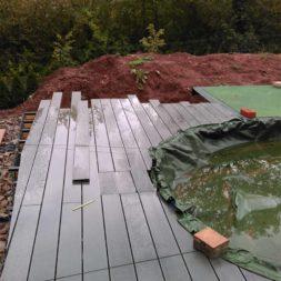 einbau der bpc wpc dielen poolterrasse 26 - Projekt Poolterrasse –  Bau der Unterkonstruktion und Verlegen der BPC Dielen