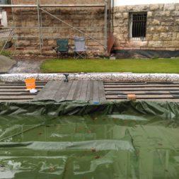 einbau der bpc wpc dielen poolterrasse 8 - Projekt Poolterrasse –  Bau der Unterkonstruktion und Verlegen der BPC Dielen