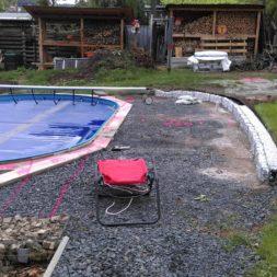 unterkonstruktion bpc wpc poolterrasse 1 - Projekt Poolterrasse – Bau der freistehenden Unterkonstruktion für die BPC Dielen