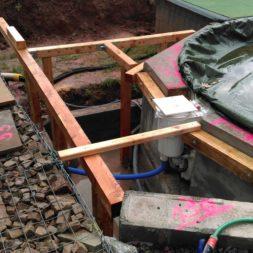 unterkonstruktion bpc wpc poolterrasse 17 - Projekt Poolterrasse – Bau der freistehenden Unterkonstruktion für die BPC Dielen