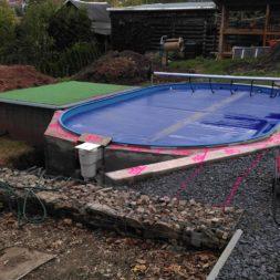unterkonstruktion bpc wpc poolterrasse 2 - Projekt Poolterrasse – Bau der freistehenden Unterkonstruktion für die BPC Dielen
