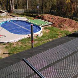 3 brennholzlageregal mit poolsolarheizung 5 - Das vierte Brennholzlagerregal mit Solarkollektoren für den Pool wird gebaut