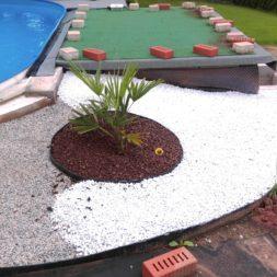 palme und neuer rasen am pool 10 - Carrara Kies und Palme am Pool