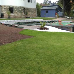 palme und neuer rasen am pool 22 1 - Pool Aussenanlagen vorbereiten - Platz schaffen für die Rasenanlage