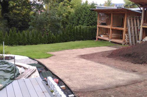palme und neuer rasen am pool 23 1 - Entsorgung des Erdaushubs und Anlegen des neuen Rasen an der Pool-Aussenanlage
