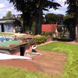 palme und neuer rasen am pool 5 - Carrara Kies und Palme am Pool