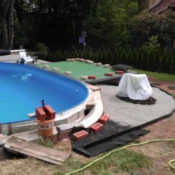 winterharte palmen an den pool pflanzen 12 - Carrara Kies und Palme am Pool