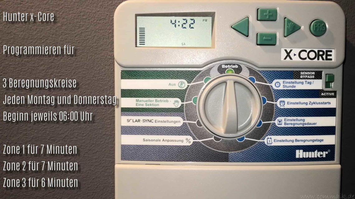 Hunter X Core Steuercomputer Gartenbewaesserung programmieren - Hunter X Core Steuercomputer für die Gartenbewässerung programmieren