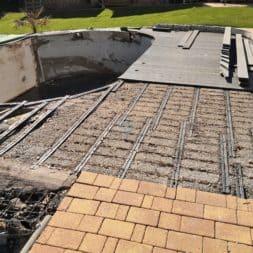 BPC Pool Terrasse umbauen 5 - Pool umbauen - Rückbau Pool Terrasse | BPC Dielen | Unterkonstruktion | Pool-Technik