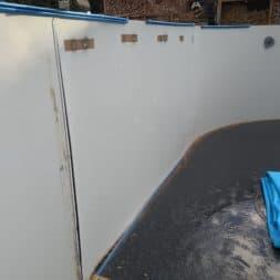 Stahlwandpool abbauen Skimmer Einlaufduese Lampe Poolfolie entfernen 41 - Pool Umbau - Rückbau vom Stahlwandpool