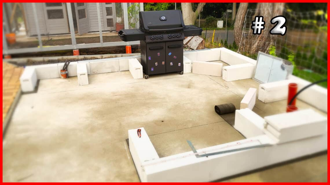 Gartenkueche bauen 2 Waende mit Gasbeton mauern Sockel YT - Gartenküche bauen #2 – Sockel und Wände mit Gasbeton mauern