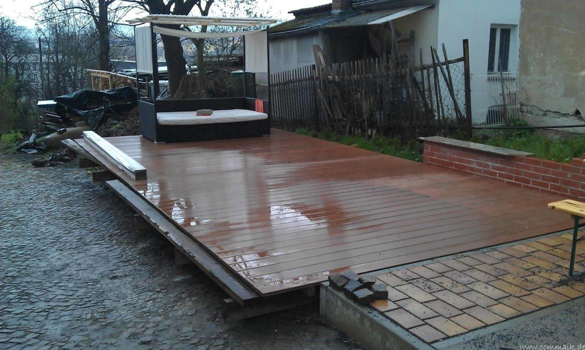 IMAG0285 - Aufbringen der WPC Terrassendielen
